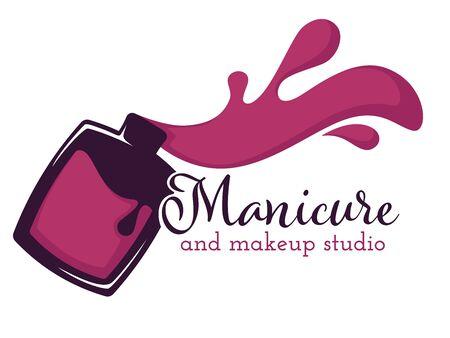 Nail polish manicure and makeup salon isolated icon Ilustração Vetorial