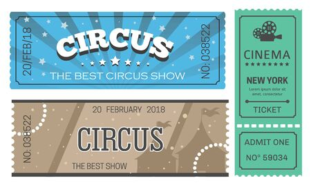Circus and cinema tickets admission or paper pass isolated objects