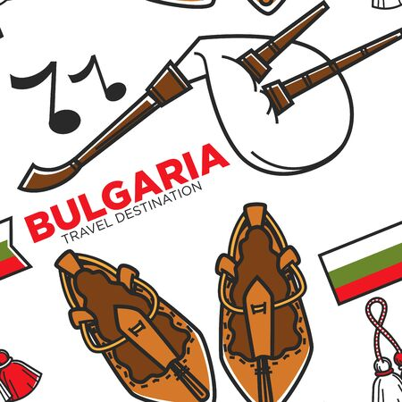 Bagpipe or gaida and bast shoes Bulgarian musical instrument seamless pattern vector music national symbol and footwear Bulgaria culture endless texture folk garment traveling wallpaper print