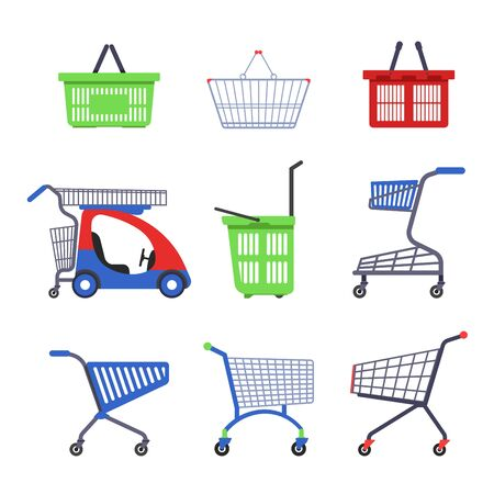Supermarket cart or trolley and shopping basket isolated objects Illustration