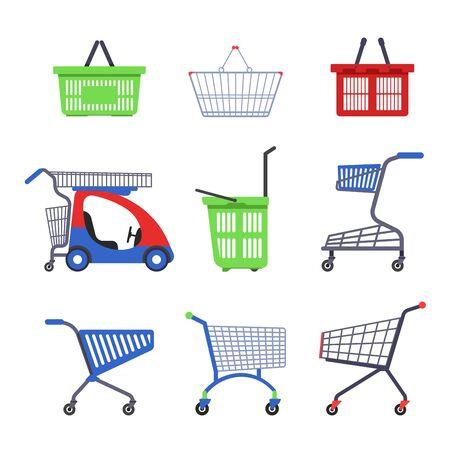 Supermarktwagen oder Trolley und Einkaufskorb isolierte Objekte Vektorgrafik