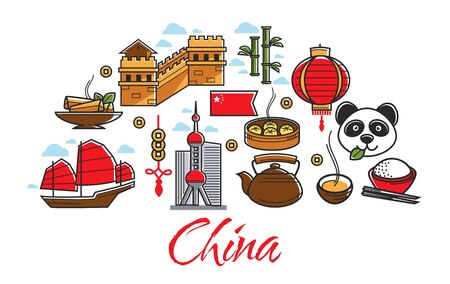 Travel to China Chinese landmarks and national country symbols