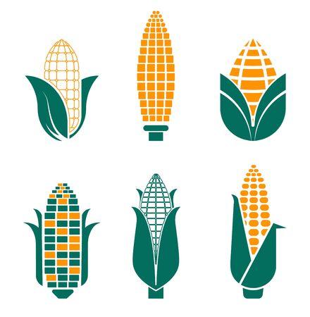 Maisgemüse isolierte Symbole für landwirtschaftliche Lebensmittel und Feldpflanze Vektorgrafik