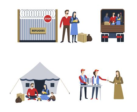 Refugees and humanitarian aid parents and child isolated characters Illustration