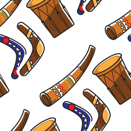 Australian symbols boomerangs horn and tom tom seamless pattern