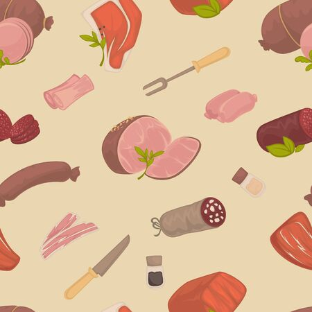 Butchery shop meat products seamless pattern vector food beef and pork ham and sausage endless texture veal and salami bacon, and paper parsley and bay leaf fork and knife cutlery wallpaper print