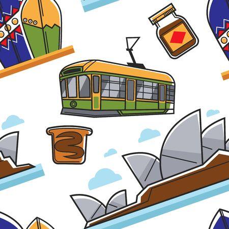 Australian symbols seamless pattern traveling and tourism Australia Illustration