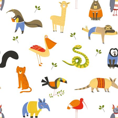 Wild American animals and birds seamless pattern wildlife Ilustração