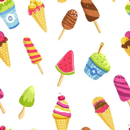 Ice cream summer dessert cone waffle stick and bucket seamless pattern