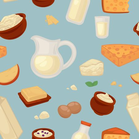 Dairy products farm food milk and cheese seamless pattern vector butter and curd eggs and kefir yogurt and sour cream endless, texture jug and bottle pack and bowl natural nutrition wallpaper print