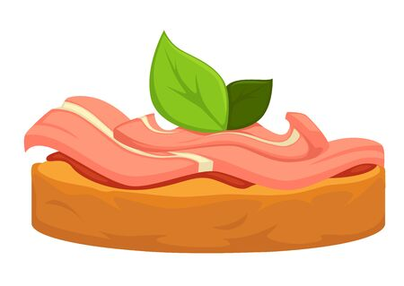 Bread slice with tuna slice fish meat and mint leaf vector isolated sandwich meal with ham or steak delicacy in eatery meal healthy, eating filling sauce on loaf with basil marine ingredients seafood
