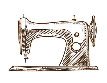 Macchina da cucire isolato schizzo vestiti fatti a mano servizi su misura vettore meccanico retrò attrezzatura cucito negozio di artigianato o negozio abiti firmati riparazione e creazione showroom di abiti unici