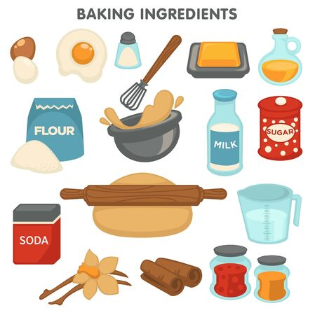 Baking ingredients food and cooking kitchen items isolated objects