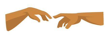Símbolo del Renacimiento, elemento de imagen, manos humanas y de Dios.