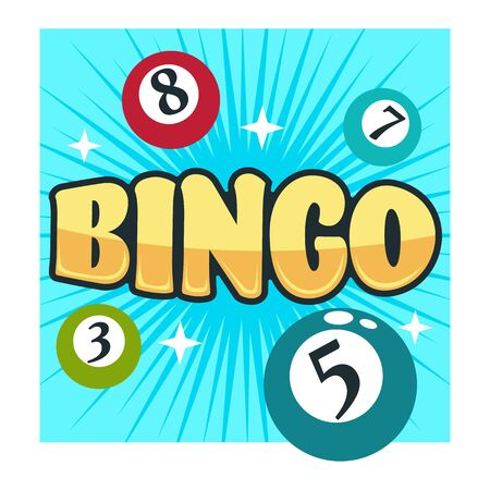 Bingo game gambling club isolated icon balls with numbers