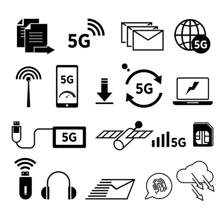 5G internet isolated icons, fast web surfing, world network