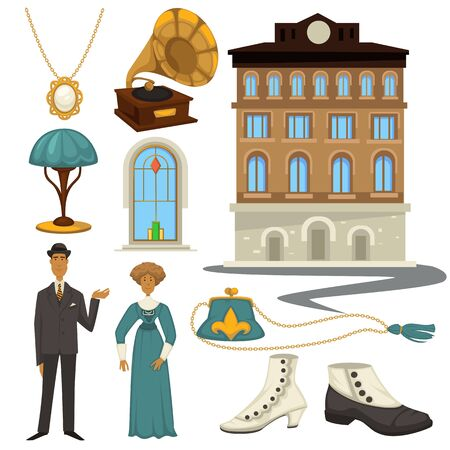 1910s symbols and retro fashion style, clothes and interior design elements Illustration