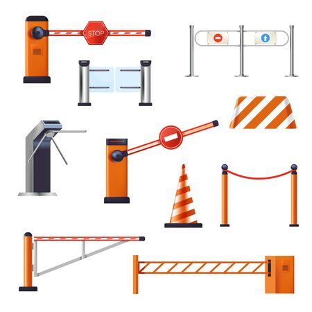 Barreras y grúas de parada, entrada o torniquete, cono de carretera, objetos aislados Ilustración de vector