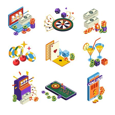 Casino online isolated icons, poker and slot machine, roulette and dice
