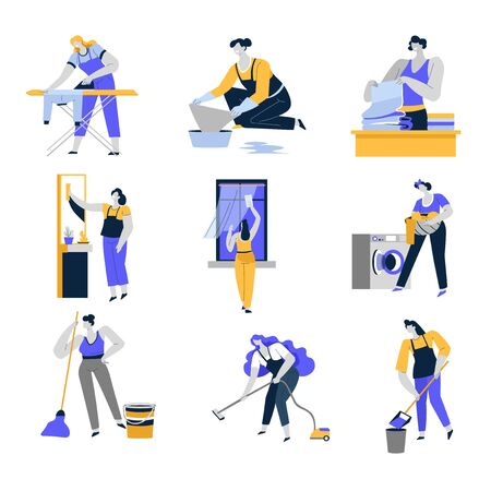 Cleaning service and household isolated icons, women or housewives