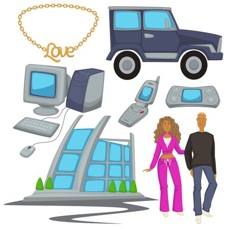 2000s style fashion and technologies, epoch symbols, man and woman  イラスト・ベクター素材