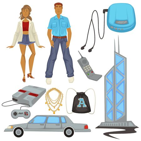 1990s style fashion and technologies, epoch symbols, man and woman
