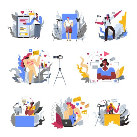 Blogger profession or hobby isolated icons, mobile devices