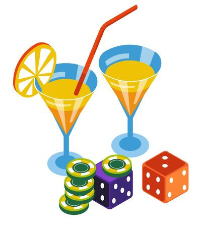 Casino club, poker chips and dices, bar cocktails