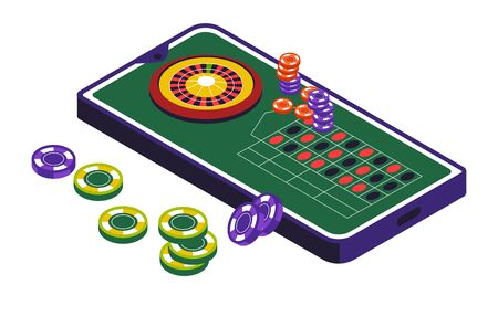 Casino club, roulette wheel and gambling, isolated icon