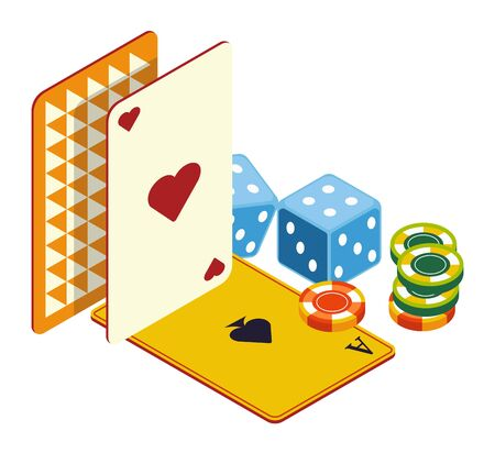 Play cards and poker chips, dices, casino online club Иллюстрация