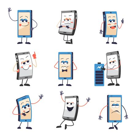 Mobile phone or smartphone with face and emotions isolated icons
