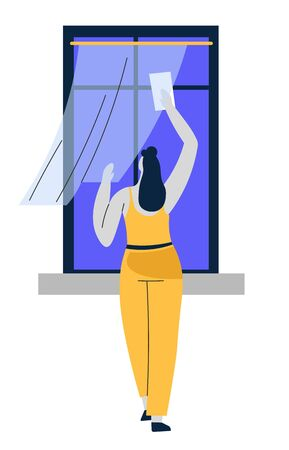 Cleaning service or housekeeping, washing windows or polishing glass