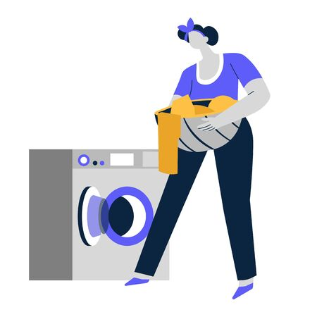 Laundry day, washing machine and basin with clothes, cleaning service Standard-Bild - 129760398
