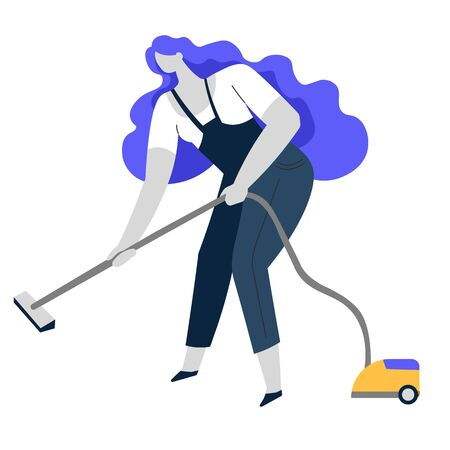 Vacuum cleaning, clean service or housewife, household chore Ilustrace