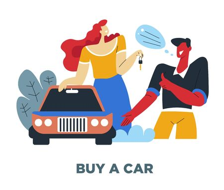 Car and couple, human need, couple and vehicle, material value