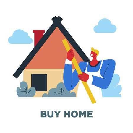 Buy home, human need, guy and house, sociology Illustration