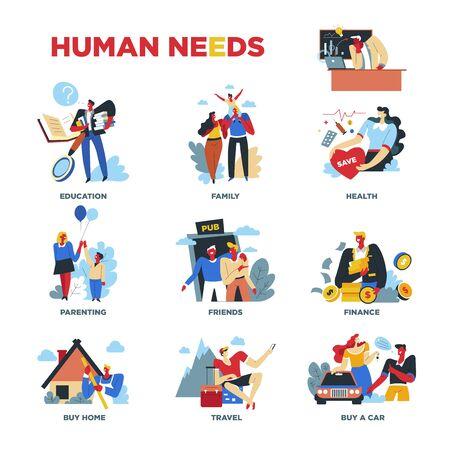 Necesidades humanas, materiales o espirituales, estilo de vida y rutina diaria. Ilustración de vector