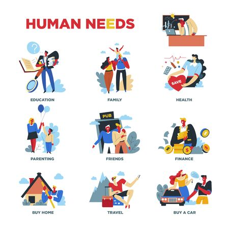 Human needs, material or spiritual, lifestyle and everyday routine Illustration