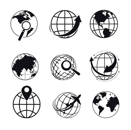 Planet isolated icons, search or geolocation, Internet browser symbol Illustration