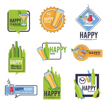 Bar happy hour isolated icons, beer and cocktails, alcohol drinks Vectores