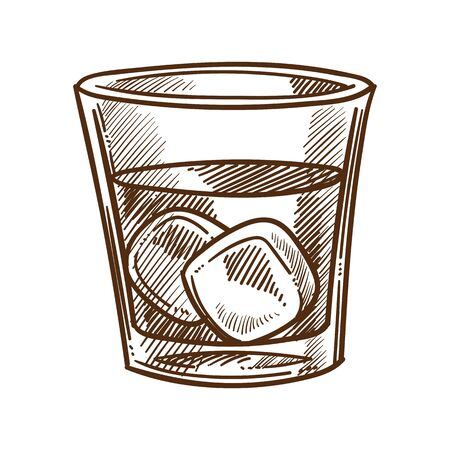 Whiskey, cola and ice cubes in glass isolated sketch 向量圖像
