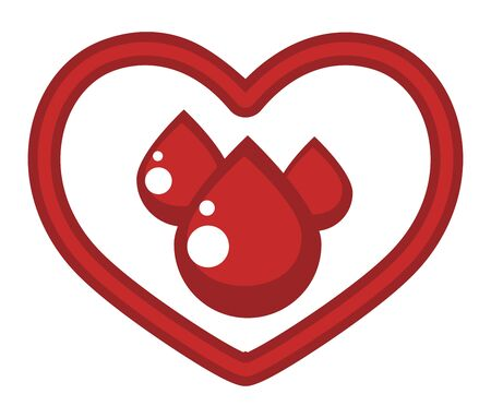 Donor center isolated icon, heart and blood drops Ilustração