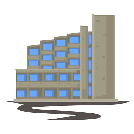 1970s building, concrete construction in 70s style isolated architecture Illustration