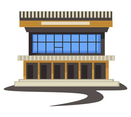 1980s style architecture, vintage building or shopping mall Illustration