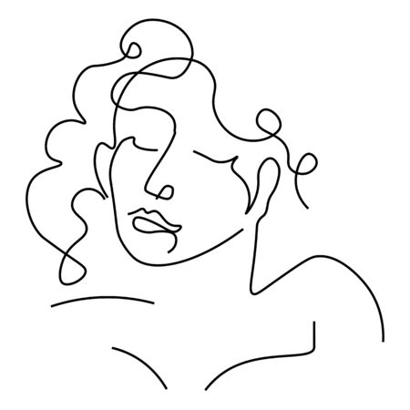 Girl with closed eyes outline portrait or avatar, isolated sketch