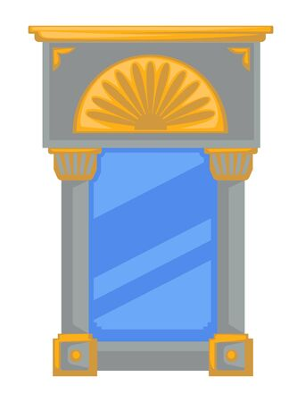 Empire style mirror in frame with columns or pillars and golden elements Иллюстрация