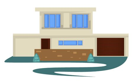 1950s style vintage building or house with garage and driveway Illustration