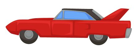 Retro sport vehicle of 1970s, muscle car isolated transport Illustration
