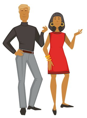 1960s couple, woman in dress and gold jewelry and guy in turtleneck and pants, 60s fashion style vector. Female and male characters in vintage clothes. Clothing design and old-fashioned outfit Illustration