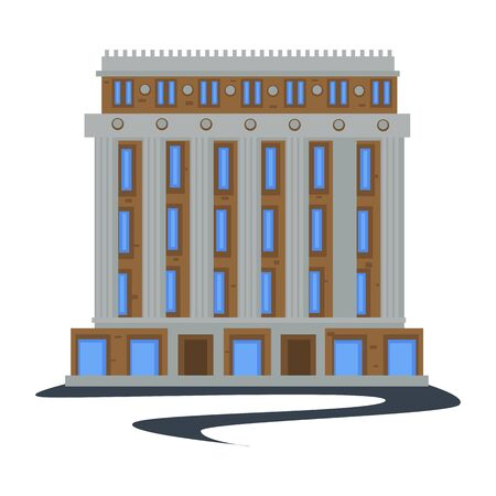 Public city building in 1930s style isolated construction Иллюстрация